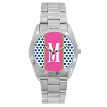 Personalized Stainless Steel Boyfriend Watch - Polka Dots