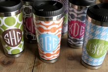 Personalized Travel Mug - Monogram Circle