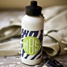 Personalized Water Bottle - Monogram Circle