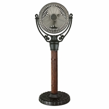 Pewter and Cane Old Havana Floor Fan