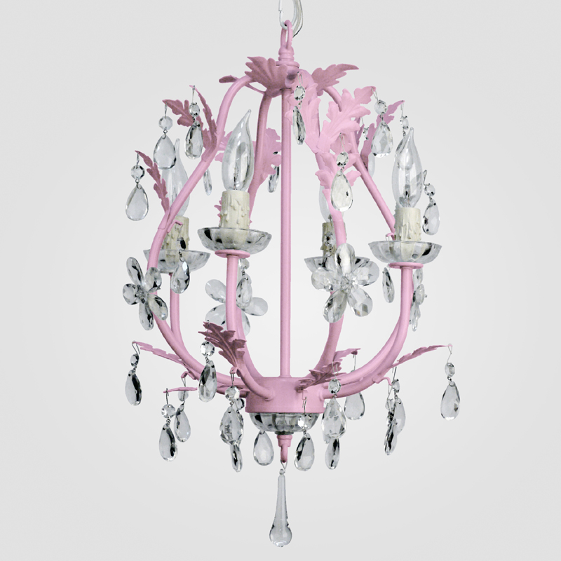 District17 Phoebe Gloss Pink Clear Crystal Chandelier