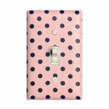 Pink and Gray Dots Light Switch Plate Cover