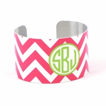 Pink and Green Chevron Monogram Cuff Bracelet