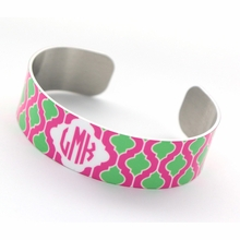 Pink and Green Quatrefoil Monogram Thin Cuff Bracelet
