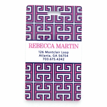 Pink and Navy Greek Key Personalized Luggage Tag Set