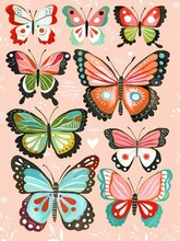 Pink Butterflies Canvas Wall Art