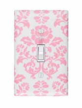 Pink Damask Light Switch Plate Cover