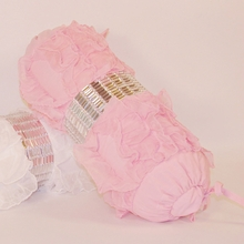 Pink Jewel and Chiffon Ruffle Bolster Pillow