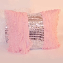Pink Jewel and Chiffon Ruffle Standard Sham