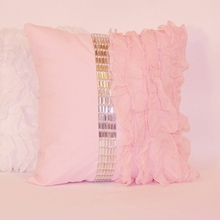 Pink Jewel and Chiffon Ruffle Throw Pillow