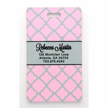 Pink Lattice Personalized Luggage Tag Set