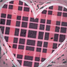 Pink Plaid Heart Canvas Wall Art