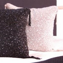 Pink Sparkle Beaded Throw Pillow