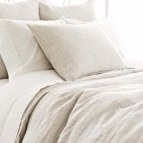 District17 Pinstripe Linen Dove Grey Duvet Cover Duvet