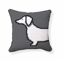 Pixel Dachshund Reversible Throw Pillow