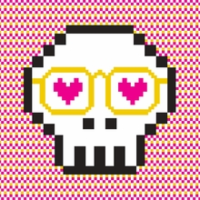 Pixel Skull Canvas Wall Art