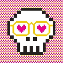 Pixel Skull Poster Wall Decal