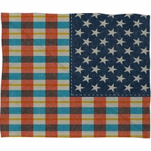 Plaid Flag Fleece Throw Blanket