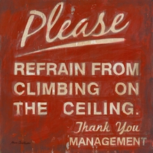 Please Do Not Climb on the Ceiling Canvas Wall Art