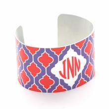 Purple and Red Quatrefoil Monogram Cuff Bracelet
