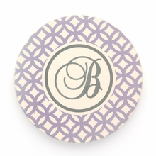Purple Geometric Initial Personalized Coaster Set