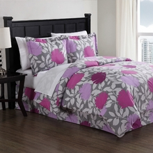 Purple Graphic Floral Comforter Set