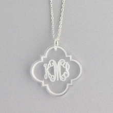 Quatrefoil Arabesque Clear Acrylic Silver Necklace