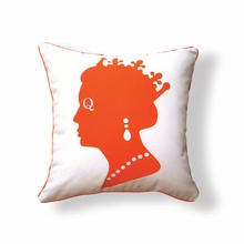 Queen Reversible Throw Pillow in Orange and Brown