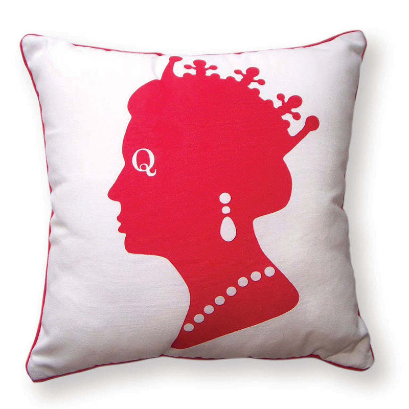 District17 Queen Reversible Throw Pillow in Red White and Blue