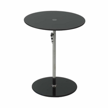 Radinka Side Table in Black Printed Glass and Stainless Steel
