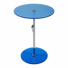 Radinka Side Table in Blue Printed Glass and Stainless Steel