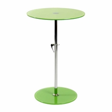 Radinka Side Table in Green Printed Glass and Stainless Steel