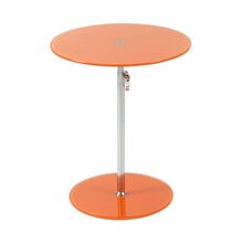 Radinka Side Table in Orange Printed Glass and Stainless Steel