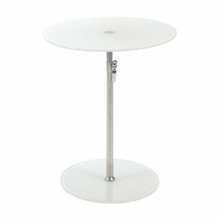 Radinka Side Table in Pure White Printed Glass and Stainless Steel