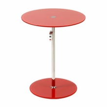Radinka Side Table in Red Printed Glass and Stainless Steel