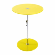 Radinka Side Table in Yellow Printed Glass and Stainless Steel