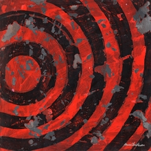 Radio Waves Bullseye in Red Canvas Wall Art