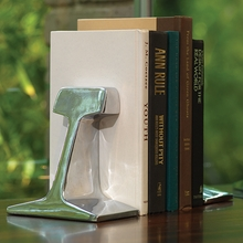 Rail Road Track Bookends in Nickel