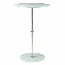 Raina Side Table in Frosted Glass and Stainless Steel