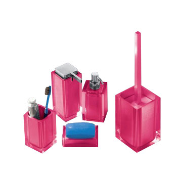 District17 Rainbow 5 Piece Bathroom Accessory Set In Hot Pink Bathroom Acce