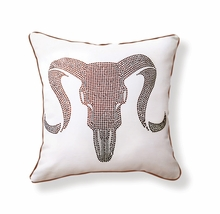 Ram Skull Reversible Throw Pillow