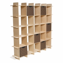 Raw Baltic Birch 25 Cubby Mid Century Bookcase