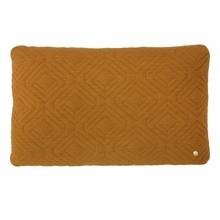 Rectangle Quilt Cushion Throw Pillow in Curry