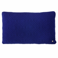Rectangle Quilt Cushion Throw Pillow in Dark Blue