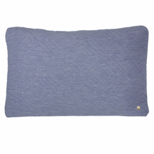 Rectangle Quilt Cushion Throw Pillow in Light Blue