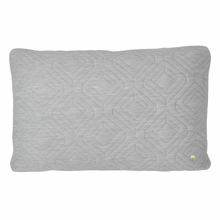 Rectangle Quilt Cushion Throw Pillow in Light Grey