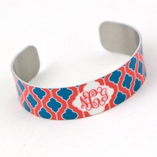 Red and Teal Quatrefoil Monogram Thin Cuff Bracelet