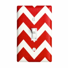 Red Chevron Light Switch Plate Cover