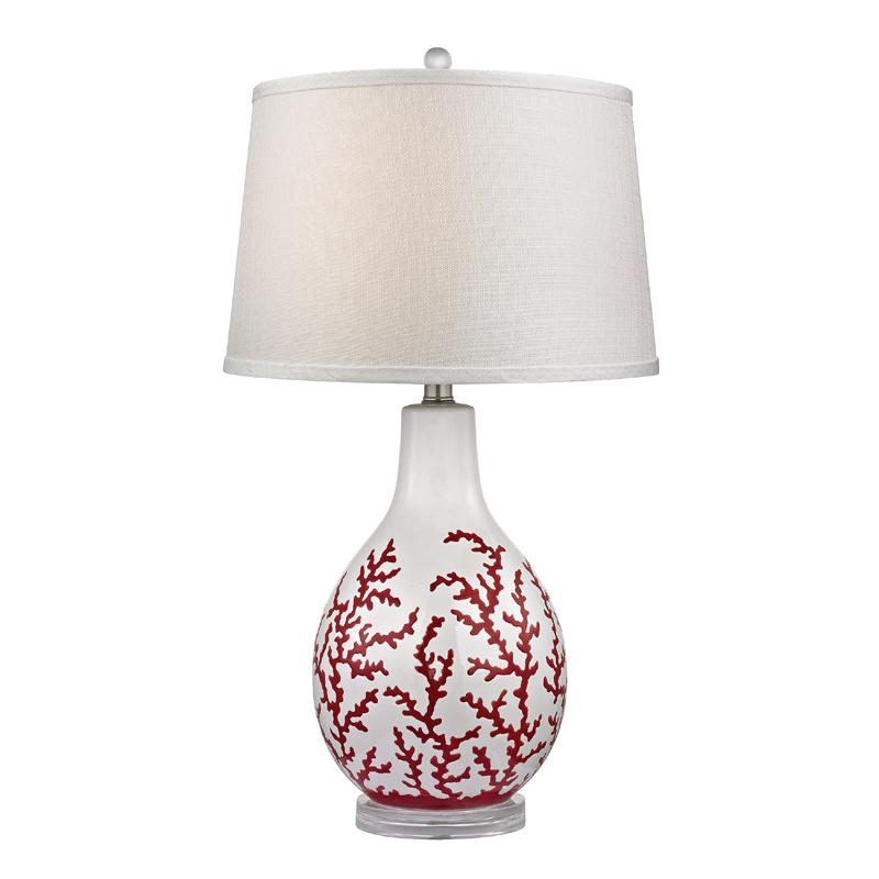 district17 red coral ceramic table lamp with acrylic base lamps. Black Bedroom Furniture Sets. Home Design Ideas
