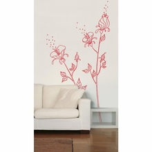 Red Flowers and Pollen Transfer Wall Decals